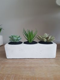 13cm Ceramic Plain Block Planter with Artificial Succulents and Cacti