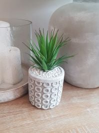 21cm Ceramic Decorative  Grey Planter With Artificial Succulent  Plant