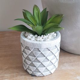 21cm Ceramic  Small Grey Planter With Artificial Succulent Plant