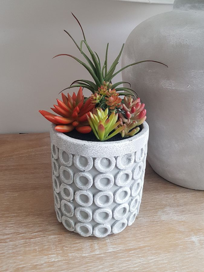 24cm Ceramic  Large Grey Planter With Artificial Succulent  Plants