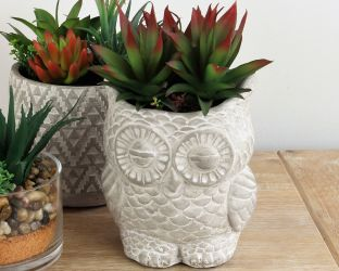 24cm Ceramic Decorative Owl Planter With Artificial Succulent Plant