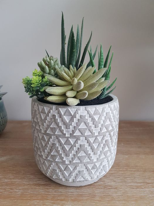 25cm Ceramic Aztec Grey Planter With Artificial Succulent  Plant