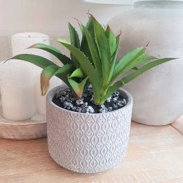 26cm Ceramic  Grey Textured Planter With Artificial Succulent Plant