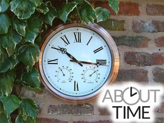 Copper Garden Clock with Thermometer - 37cm (14.6