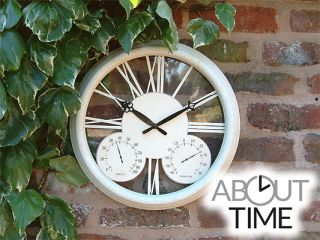 Classic Antique White Garden Clock with Thermometer - 32cm (12.6