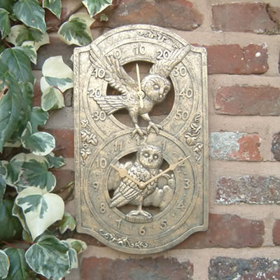 "Owl Outdoor Garden Clock and Thermometer - 39cm (15"")"