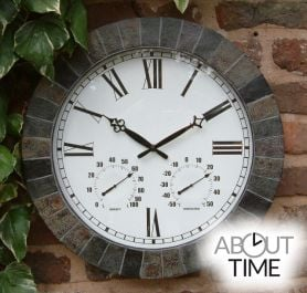 Large Slate Effect Outdoor Garden Clock with Thermometer - 45cm (17.7