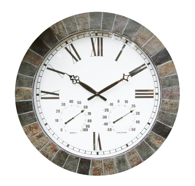 "Large Slate Effect Outdoor Garden Clock with Thermometer - 45cm (17.7"")  - by About Time™"