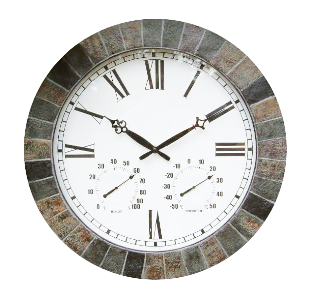 Large Slate Effect Outdoor Garden Clock With Thermometer