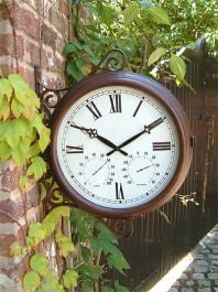 Double Sided Station Garden Clock with Thermometer - 38cm (15