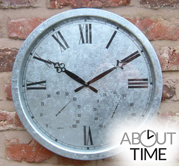 "Galvanised Outdoor Garden Clock with Thermometer - 35cm (13.8"")  - by About Time™"