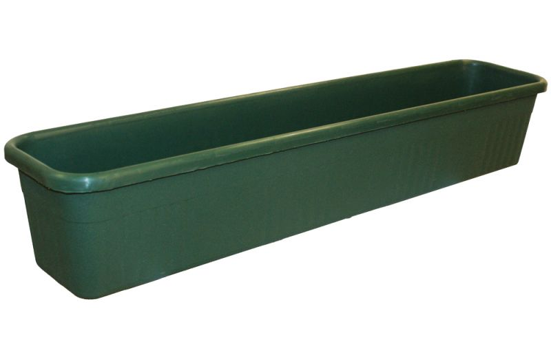 78cm Plastic Ornamental Trough Planter in Forest Green - Set of 2