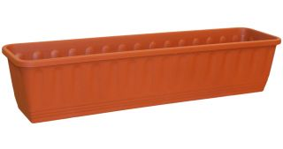 80cm Plastic Etruscan Ornamental Trough Planter in Terracotta