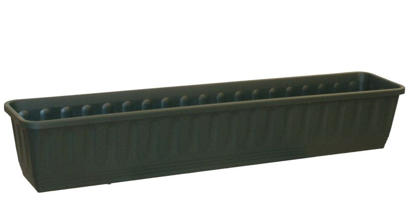 100cm Plastic Etruscan Ornamental Trough Planter in Forest Green - Set of 2