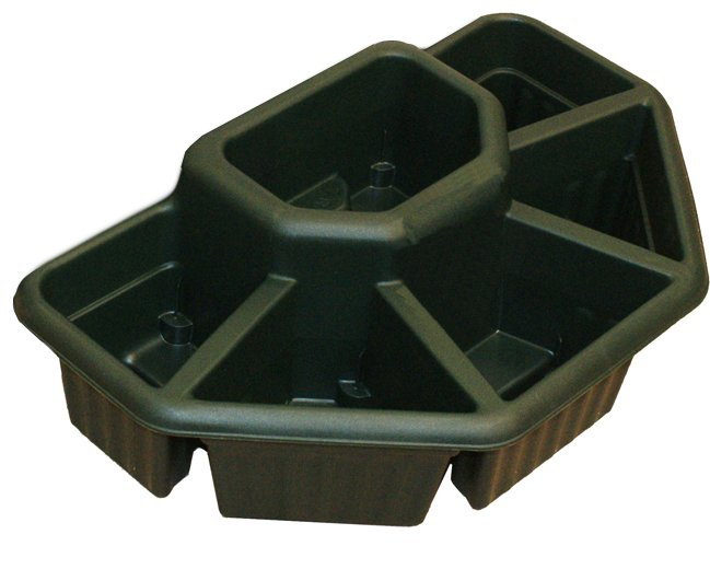 60cm Ornamental Terrace Sectioned Planter in Forest Green