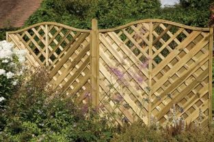 6ft x 6ft Fence Panel Pack of 3 - Pressure Treated Decorative Europa Vienna