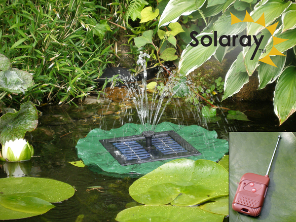 Solar Floating Lily Pad Fountain by Solaray™ - Remote controlled with LED Lights