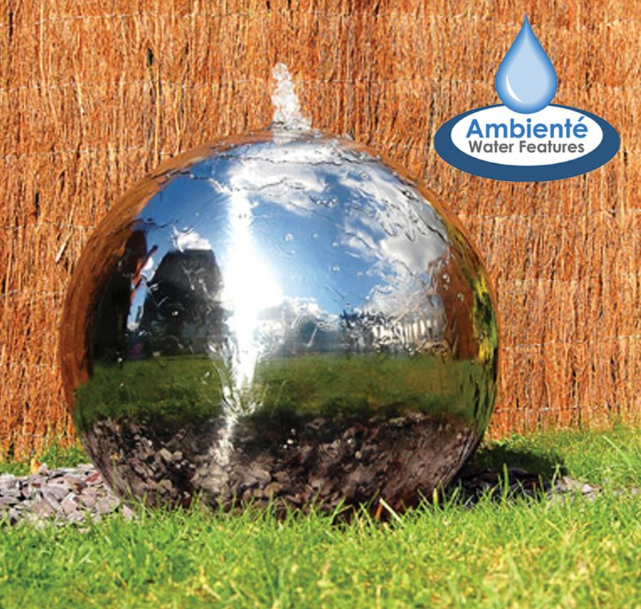 28cm Polished Stainless Steel Sphere Water Feature, LED Lights by Ambienté™