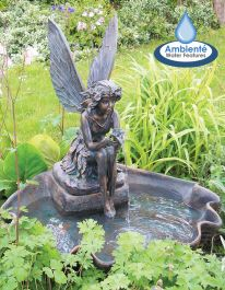 H78cm Fairy on a Clam Shell Water Feature by Ambienté