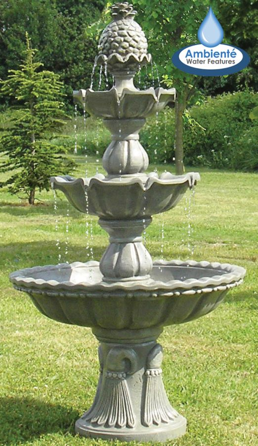 1.5m Stone Effect Regal 3 Tier Fountain by Ambienté™