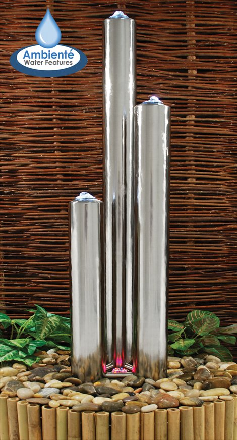 5ft /153cm Large Stainless Steel Advanced 3 Polished Tubes Water Feature With Lights on Tubes & Base by Ambienté™