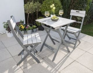 Norfolk Leisure Grigio Wooden Bistro Set in Grey