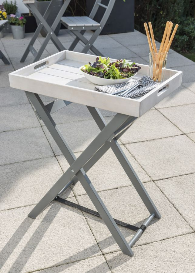 Grigio Wooden Folding Butler Tray in Grey
