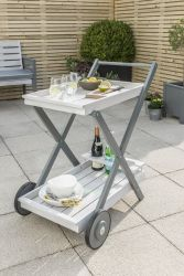 Grigio Wooden Drinks Trolley in Grey