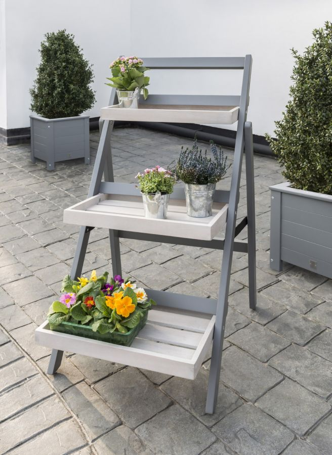 Norfolk Leisure Grigio Wooden Folding Pot Shelf in Grey