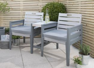 Grigio Wooden Tete A Tete Bench Set in Grey