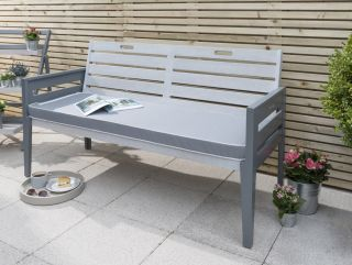 Norfolk Leisure Grigio 3 Seater Wooden Bench in Grey