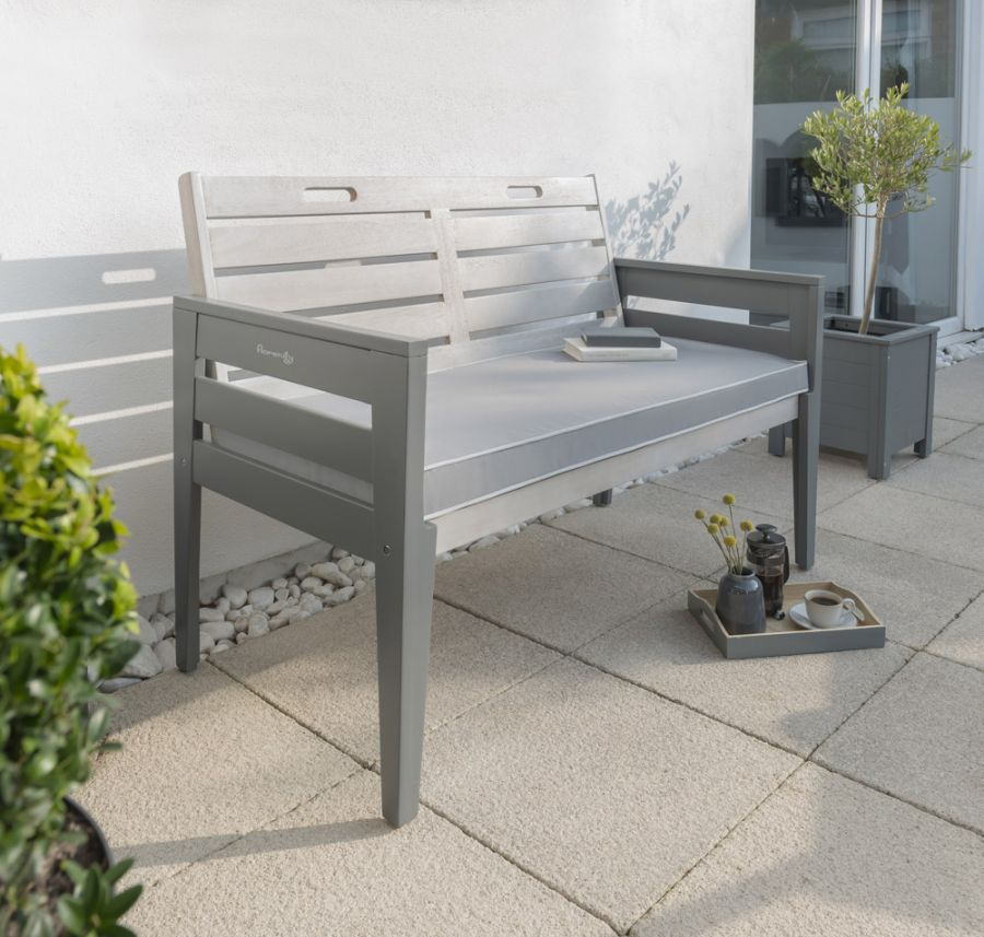 Grigio 2 Seater Wooden Bench in Grey