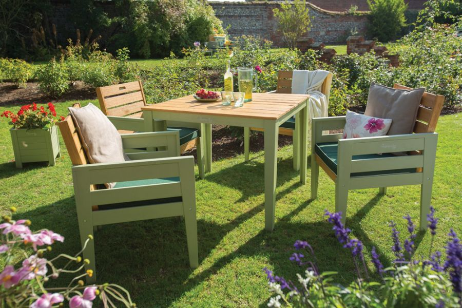 Norfolk Leisure Verdi 4 Seater Wooden Dining Set in Teak/Green