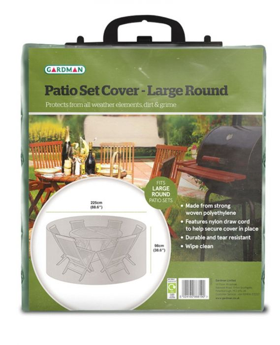 Gardman 225cm 8 Seater Green Round Garden Patio Set Cover