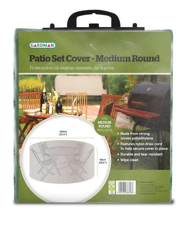 Gardman 184cm 6 Seater Green Round Garden Patio Set Cover
