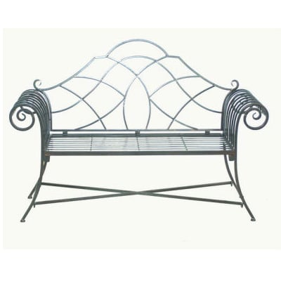 Ascalon Lutyens Black Steel Garden Bench