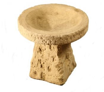 39cm Rustic Finish Small Concrete Bird Bath