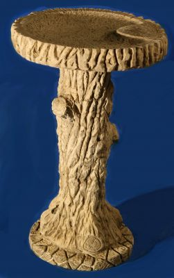 70cm Tree Bark Woodland Concrete Bird Bath