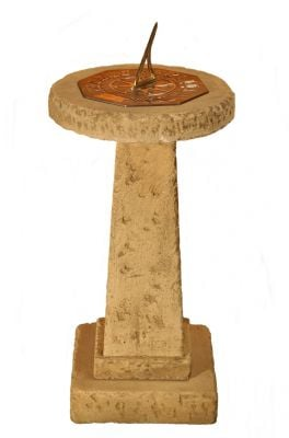 Natural Finish Concrete and Brass Sundial H71cm