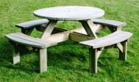 Supported Round Timber Picnic Table