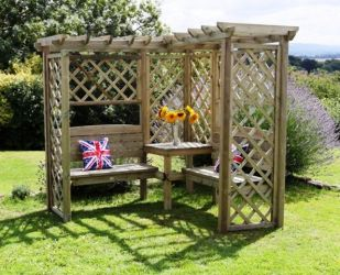Avon 2.1m (6ft 11ins) Seat Timber Arbour with Trellis
