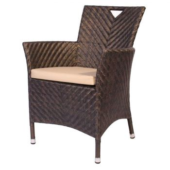 Alexander Rose Ocean Wave Rattan Garden Armchair with Cushion