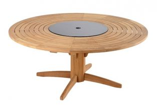 Teak Bengal 180cm Round Garden Table with Integral Lazy Susan
