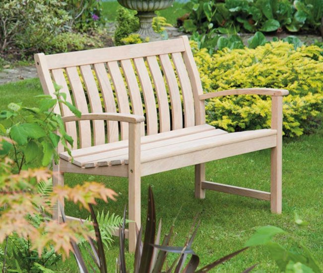 Personalised Alexander Rose Roble Bella Vista 1.2m (4ft) Commemorative Memorial Low Back Wooden Bench