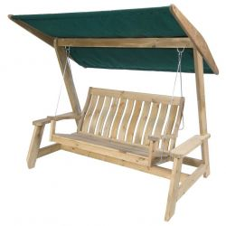 Pine Farmers Swing Seat with Green Canopy by Alexander Rose
