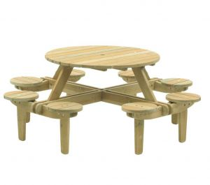 1.1m Dia. Pine Gleneagles Picnic Table 8 Seater by Alexander Rose