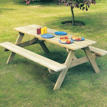 Alexander Rose Pine Woburn Garden Picnic Table 6ft