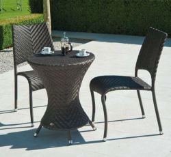 Alexander Rose Ocean Wave 60cm Round Rattan Garden Bistro Table