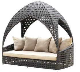 Alexander Rose Ocean Rattan Garden Daybed with Roof and Cushions