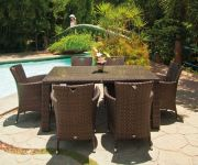Alexander Rose Ocean Wave 170cm Rattan Garden Table